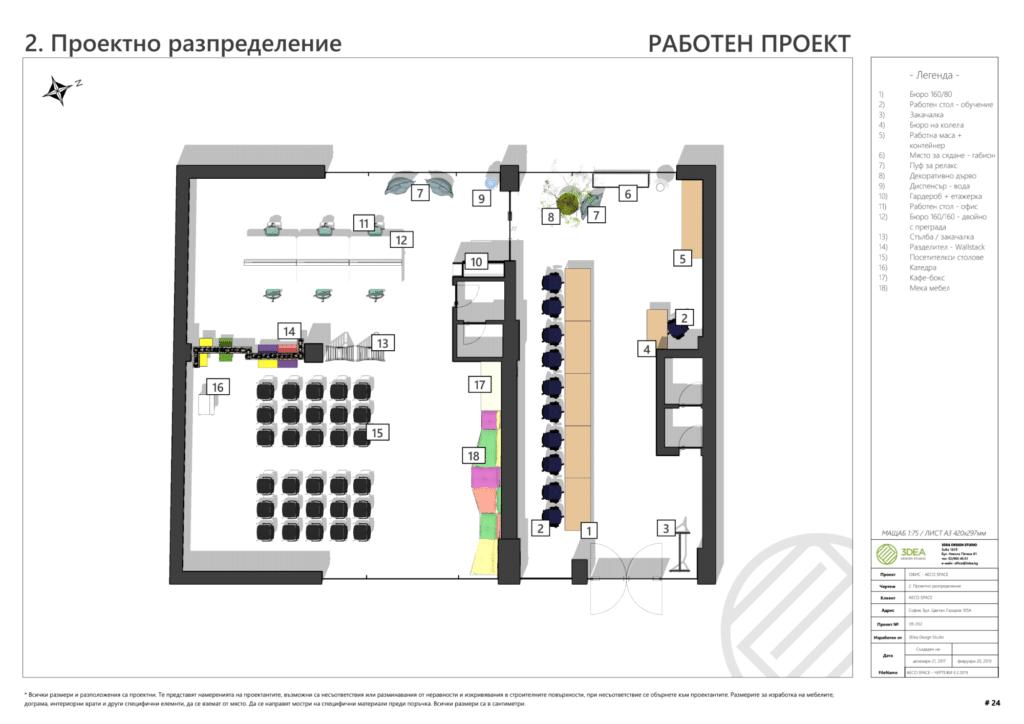 Plan d'étage annoté du projet AECO Space. Créé à l'aide d'un modèle SketchUp et généré et annoté dans LayOut.