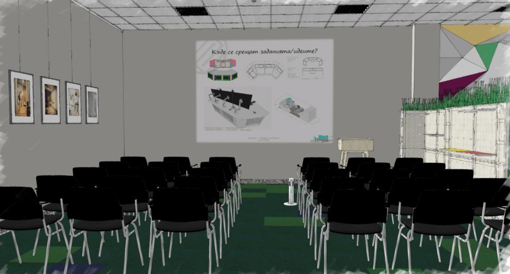 Rendu SketchUp d'un lieu de travail conçu par 3DEA